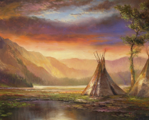 This is a painting of an American Indian encampment beside a river at sunset called Lost Legacy by Stefan Baumann.