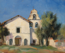 This is a painting of Mission San Juan Bautista painted plein air in morning light by Stefan Baumann.