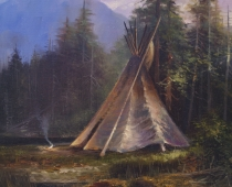 This is a painting by Stefan Baumann of an Native American Indian teepee in camp by a lake in a forest.