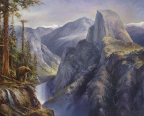 This is a painting by Stefan Baumann called On the Wings of an Osprey of Half Dome in Yosemite from the vantage point of an ospry flying in above the valley.