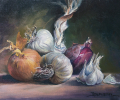 Still Life Paintings:  Onions and Garlic