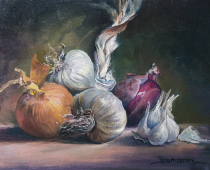 This is a still life painting by Stefan Baumann of yellow and purple onions and white garlic cloves.