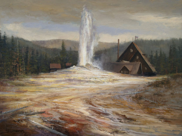 Yellowstone Painting: Old Faithful Lodge