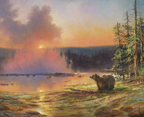 This is a sunset painting called Twilight at Upper Geyser Basin by Stefan Baumann painted in Yellowstone National Park.