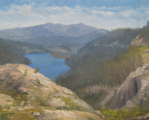 This painting of Donner Lake was painted as a study by Stefan Baumann, who captured a view of the landscape and the lake en plein air.
