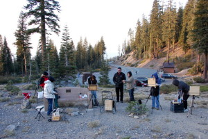 This is a photo of articipants who are seting up to paint Mount Shasta en plein air at an Autumn Workshop with Stefan Baumann.