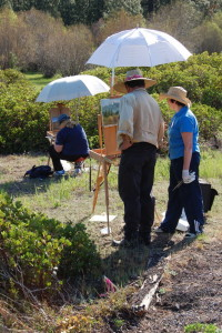 This is a photo of Stefan Baumann who offers individual coaching as participants paint on location.