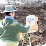This is a photo of a Participant oil painting on location at The Grand View Workshop