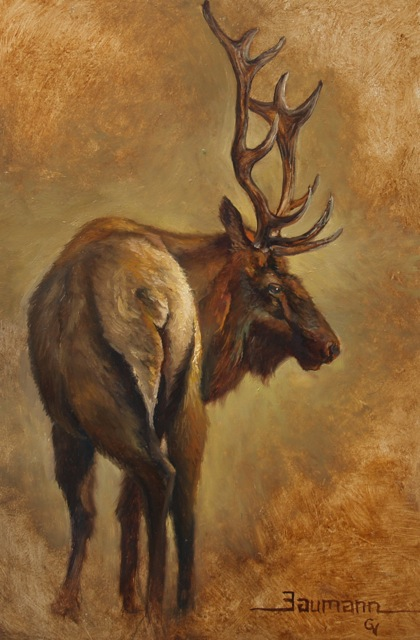 """""""The End"""" Painting of an Elk, wildlife painting by Stefan Baumann"""