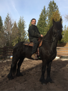 Stefan Baumann on his trusted steed